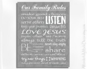 ... Personalized Family Rules . Family Rules Wall Art . Christian Values
