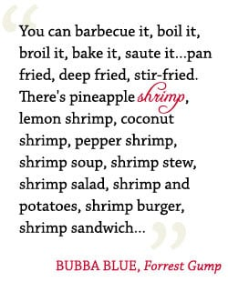 bubba blue shrimp quote from Forrest Gump