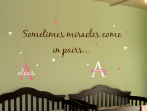 Baby TWINS Wall Decal Saying AND Name Initial Stars.. Sometimes ...