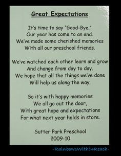 Poem for end of School, Preschool rhyme for goodbye via ...