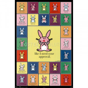 ... Bunny sayings. In the center it shows a pink Happy Bunny and says Like