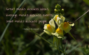 Great minds discuss ideas... quote wallpaper