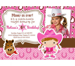 Wild West Pink Cowgirl Western Horse Photo Birthday Party Invitations ...
