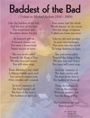 special tribute to michael jackson purchase one of these poems