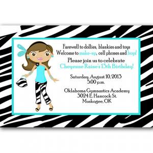 13th Birthday Teenage Zebra Print Party Invitation Turquoise