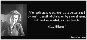creative act one has to be sustained by one's strength of character ...