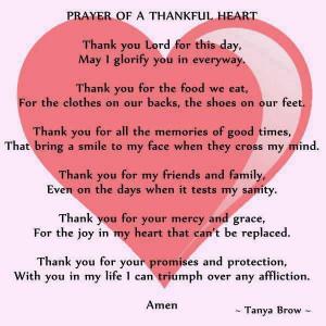 Prayer of a thankful heart