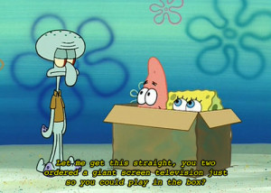 box, funny, patrick, spongebob, squidward, text
