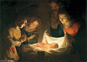 Dutch artist Gerard van Honthorst (1592-1656) cast this Nativity scene ...
