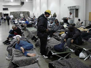 The homeless settle in at the West LA cold-weather shelter. (Photos by ...
