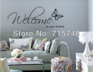 WELCOME TO OUR HOME Vinyl Wall Quote Decal Family 20pcs / lot(China ...