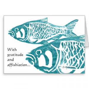 Funny Fish Gratitude Greetings Thank You Cards from Zazzle.com