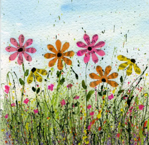 Flower Art Using Old Book Pages and Splatterd Paint-myflowerjournal ...