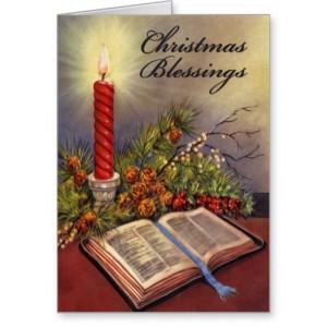 Holy Bible Christian Christmas Card w/Verse