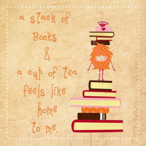 , book, books, cup of tea, drawing, etsy, illustrations, print, quote ...