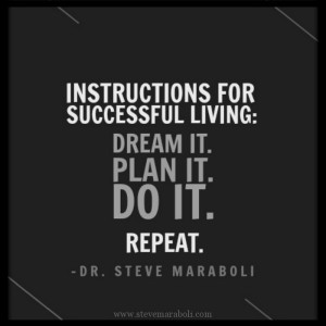 Instructions for successful living: Dream it. Plan it. Do it. Repeat.