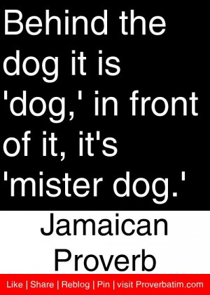 ... front of it, it's 'mister dog.' - Jamaican Proverb #proverbs #quotes