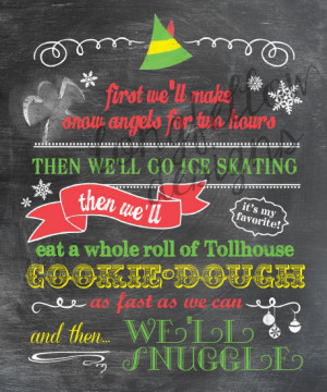 Buddy The Elf - Colorful Chalkboard Look Print - Fun For The Holidays