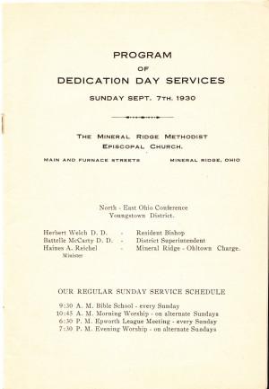 Dedication Day Program, Mineral Ridge Methodist Episcopal Church