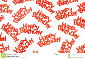 group of red happy birthday confetti pieces on a white background.