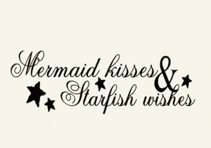 Mermaid Beach Decor Wall Decal Word Quotes, Mermaid Kisses and ...