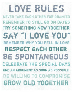 Love Rules Quote Canvas Art