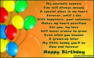 Cute birthday quote poem for a sweet nephew