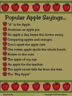 ~Apple Day & National Apple Month ~Apple Themed Book & Apple Sayings ...