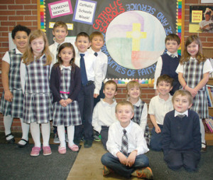 First and second graders at St. Basil School are shown above.