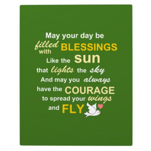 Irish Blessing for Courage - Typography in green Display Plaques