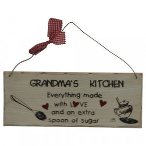 Grandma's Kitchen Baking Quote Wood Sign Plaque - Home Wall Decor ...