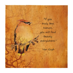 Van Gogh If you Love Nature Quote Cedar Waxwing Drink Coaster