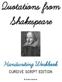 Shakespeare Quotations Cursive/Script Handwriting Copywork Workbook