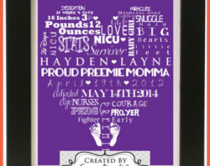 Customized Word Art for Preemie Moms and Nurseries - Great Gift for ...