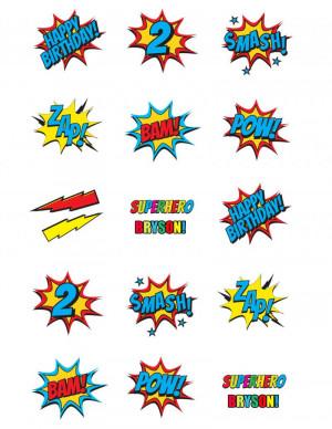 Super Hero Sayings Cupcake/Cookie Toppers