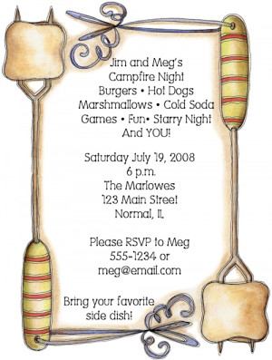 ... our Store > Smores, Marshmallows Campfire Cookout Party Invitations