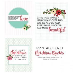 Free Printable Christmas Quotes www.thirtyhandmadedays.com