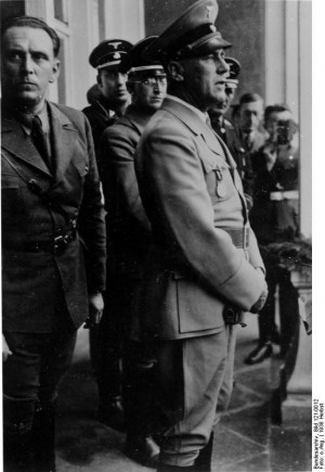 Stuckart, Frick, and Henlein in Sudetenland, Czechoslovakia, 23 Sep ...