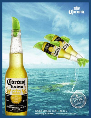 ... Two Corona Extra beer bottles jumping out of the water like dolphins