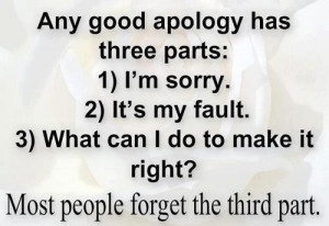 Any good apology three parts- Real true quotes, real quotes