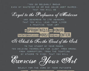 HIPPOCRATIC OATH - Oath of Hippocrates, Typographic style poster for ...