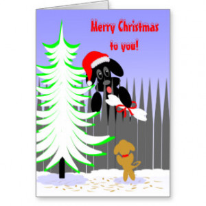 Christmas Card Dog Humor Santa Dog With Bone