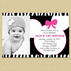 Minnie Mouse Pink & Zebra Birthday Invitation - Any Age - Girl