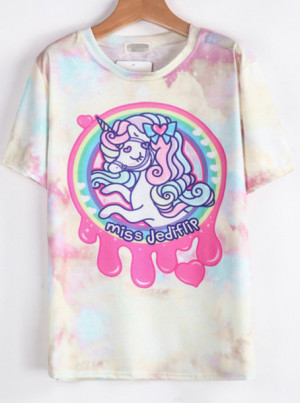 Shirt T Unicorn Holographic Acid Wash Pastel Goth Edit Tags
