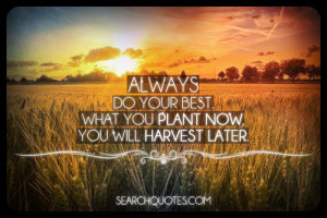 Always do your best what you plant now will harvest later.