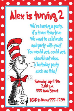 Dr. Seuss Birthday Invitation. My nephew loves cat in the hat! This ...