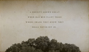 society grows great when old men plant trees whose shade they know ...
