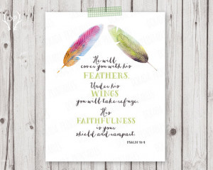 Bible verse printable art, scripture print art, watercolor feathers ...