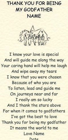 thank you for being my godfather godmother gift poem more godfather ...