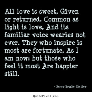 ... given or returned. common as light.. Percy Bysshe Shelley love quotes